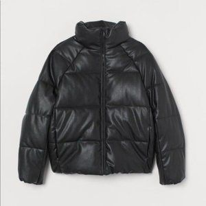 H&M Black Faux Leather Puffer Padded Bomber Jacket Size XS Brand New